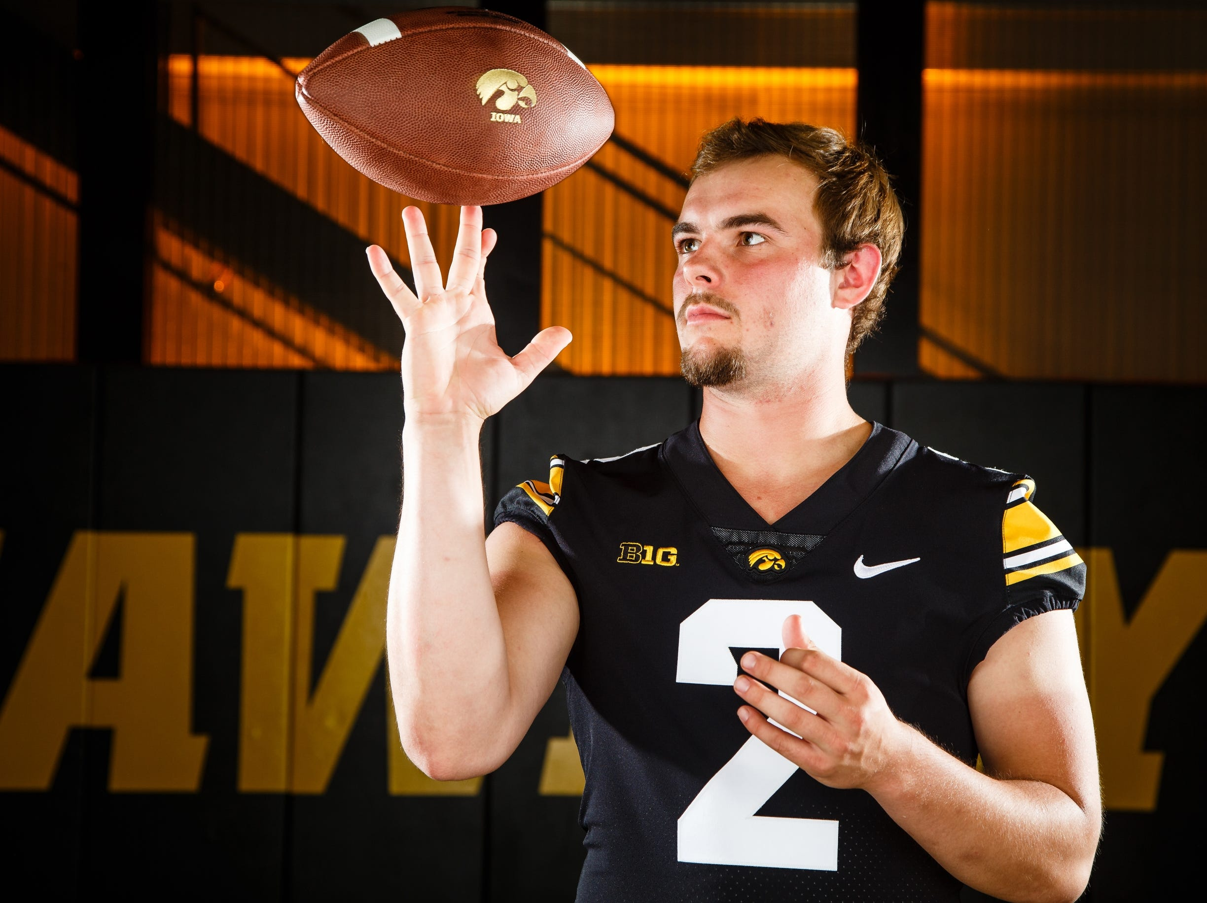 Iowa's Peyton Mansell poses for a photo during the Iowa Football media day on Friday, Aug. 10, 2018 in Iowa City.