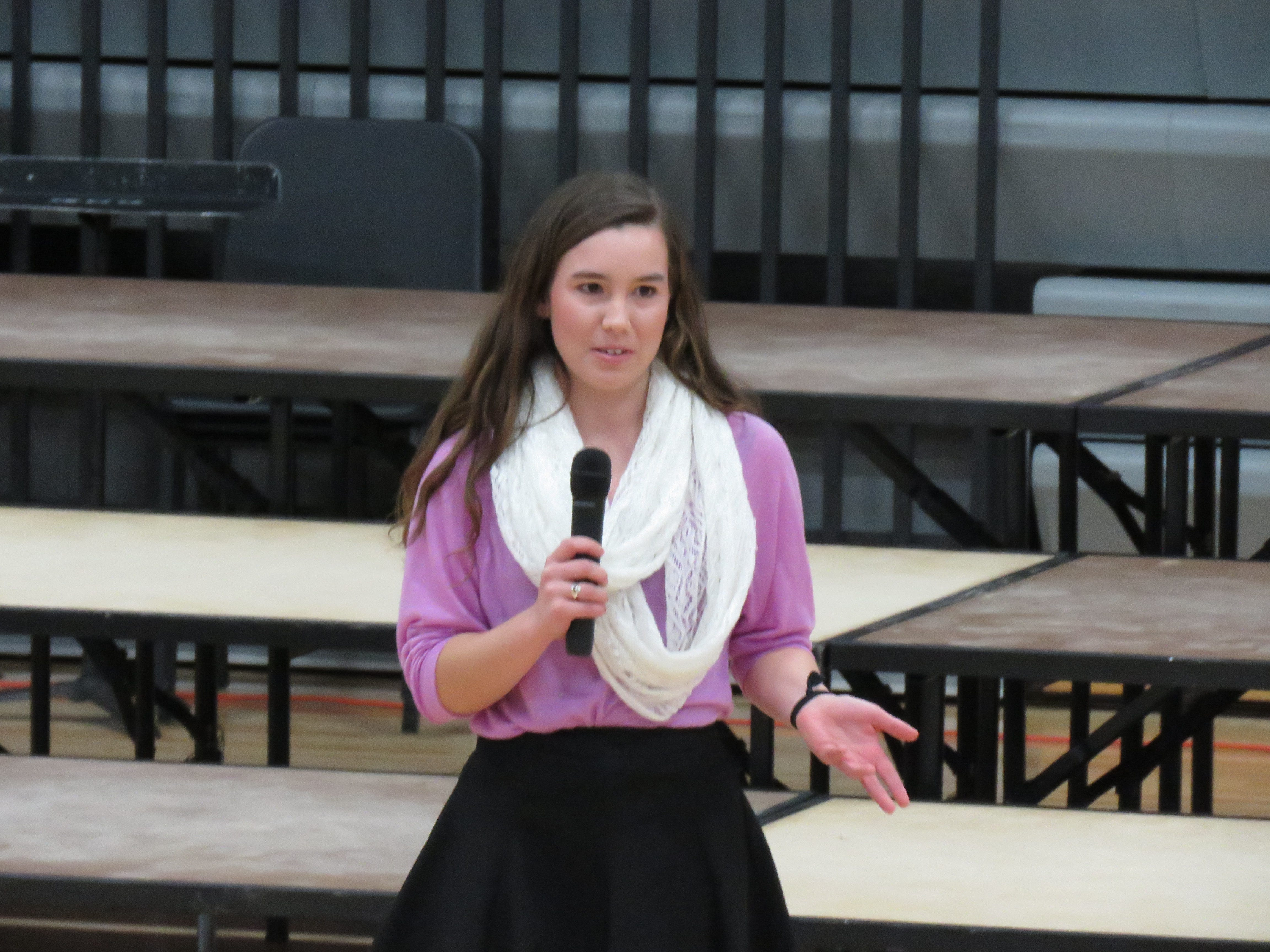 "Senior Mollie Tibbetts performs her original oratory ""A Lesson in Love"" that earned her a trip to the state speech competition."