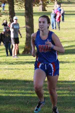 Mollie Tibbetts of BGM heads to the finish line with a 25:52.1 to lead the Bears to third place at the South Iowa Cedar League cross country meet.