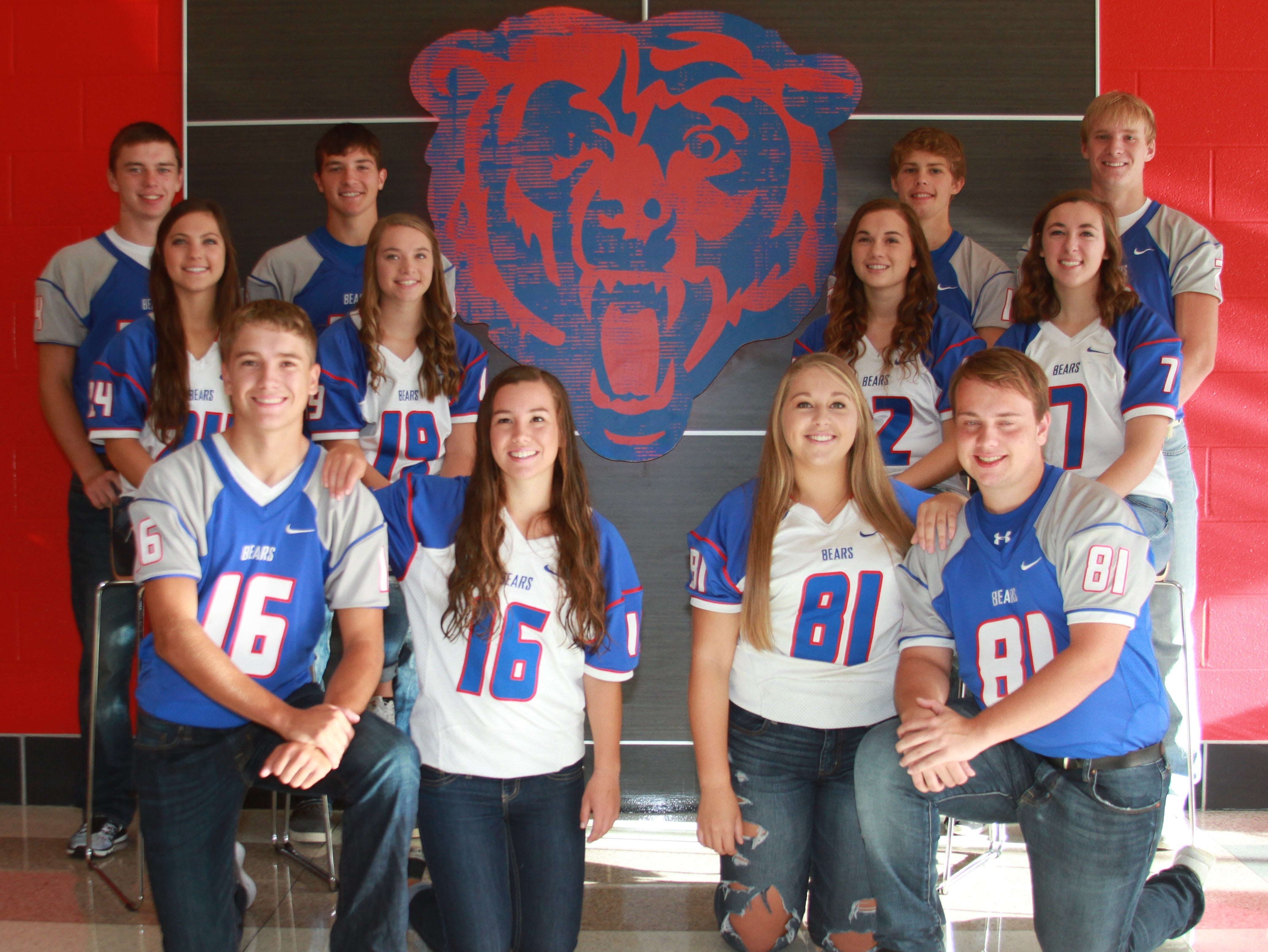 2016 BGM Homecoming Court is, front row, from left: Zane Winter, Mollie Tibbetts Alexis Lynd and Brady VanErsvelde. Second row: Hope Beck, Baylee VanErsvelde, Aimee Hochstetler and Jesse Wiegand. Third row: Eric Weiss, Dylan Schafbuch, Kalvon Steffen and Jayce Knight.