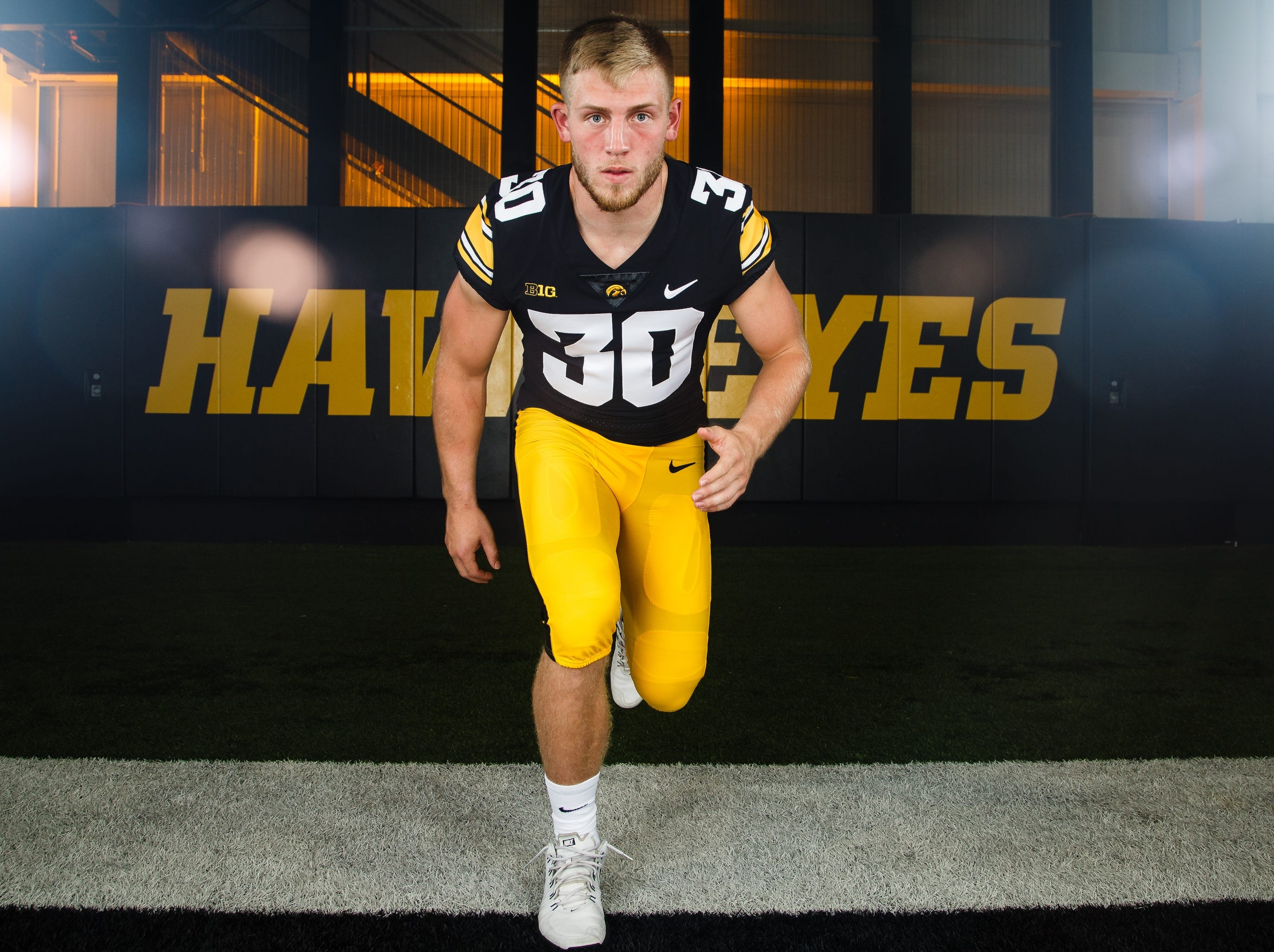 Iowa's Jake Gervase poses for a photo during the Iowa Football media day on Friday, Aug. 10, 2018 in Iowa City.