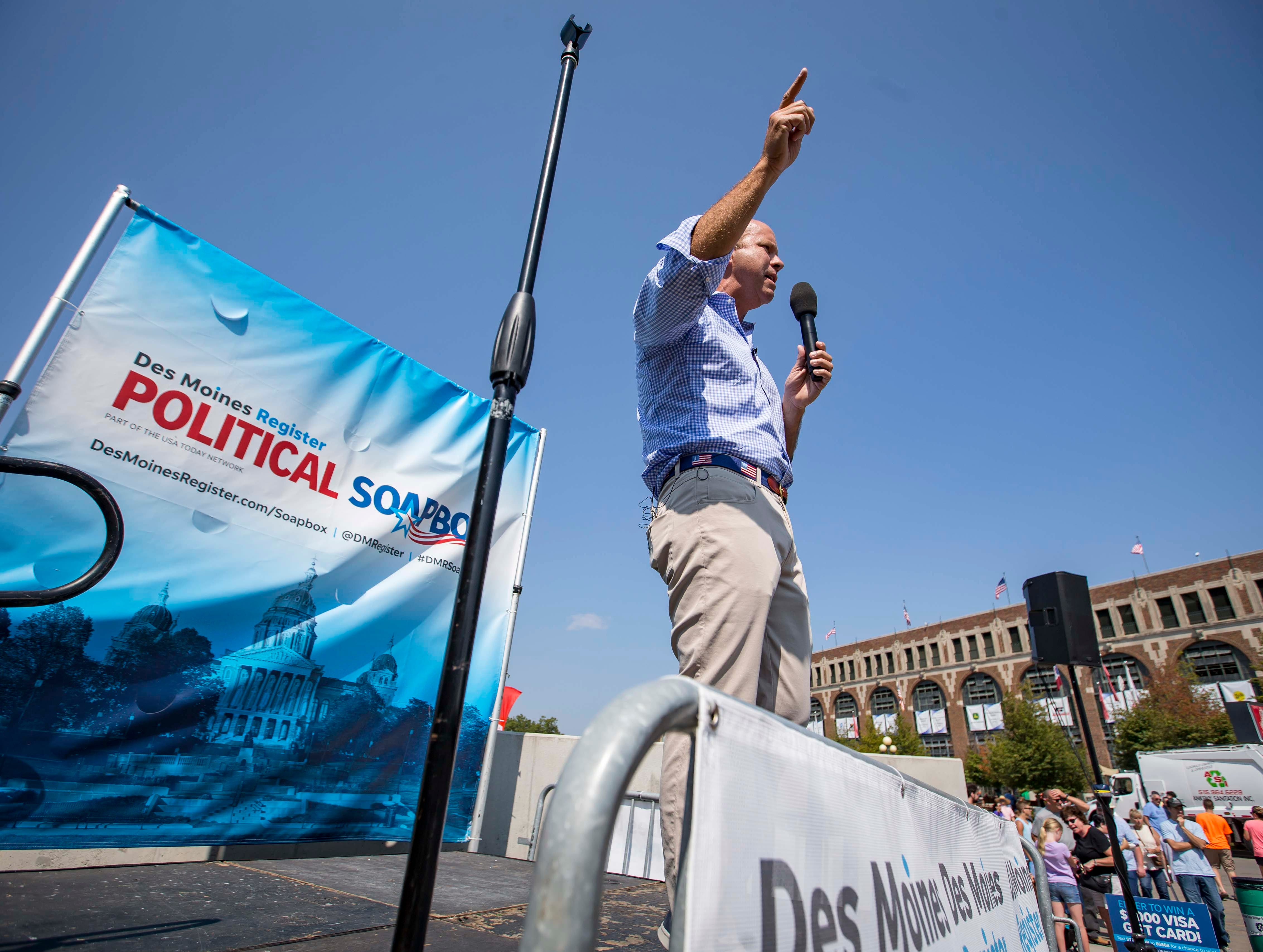 Democrat John Delaney, presidential hopeful, during the Des Moines Register Political Soapbox at the Iowa State Fair Friday, Aug. 10, 2018, in Des Moines, Iowa.