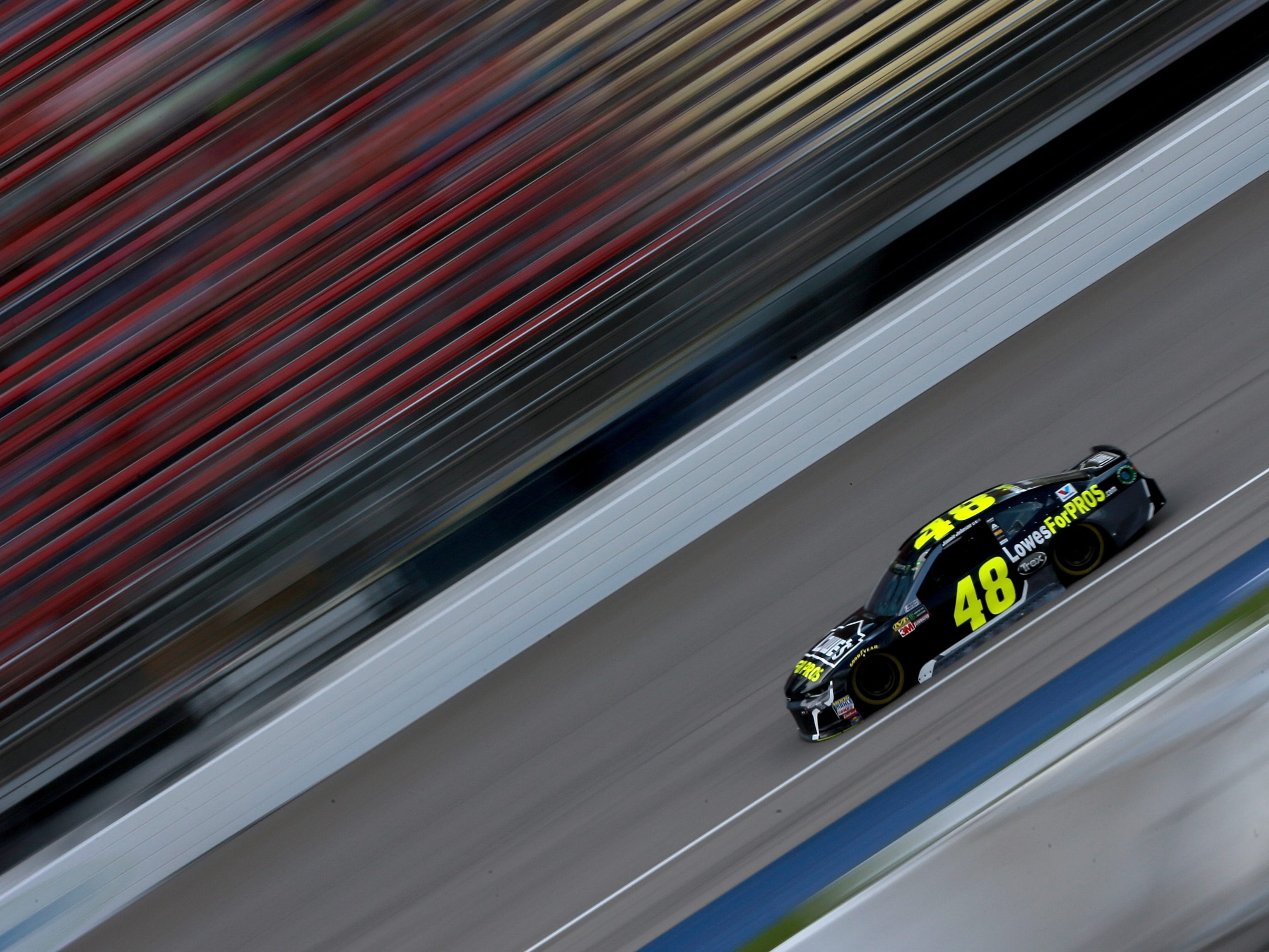 Jimmie Johnson, driver of the #48 Lowe's for Pros Chevrolet, drives during qualifying for the Monster Energy NASCAR Cup Series Consmers Energy 400 at Michigan International Speedway on August 10, 2018 in Brooklyn, Michigan.