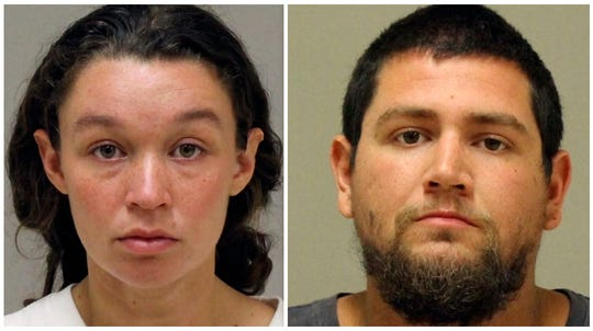 This undated photo combo provided by the Kent County Sheriff shows Tatiana Fusari and Seth Welch. Fusari and Welch were charged Monday, Aug. 6, 2018, with felony murder and first-degree child abuse after their daughter, Mary, was found unresponsive in their Solon Township home.