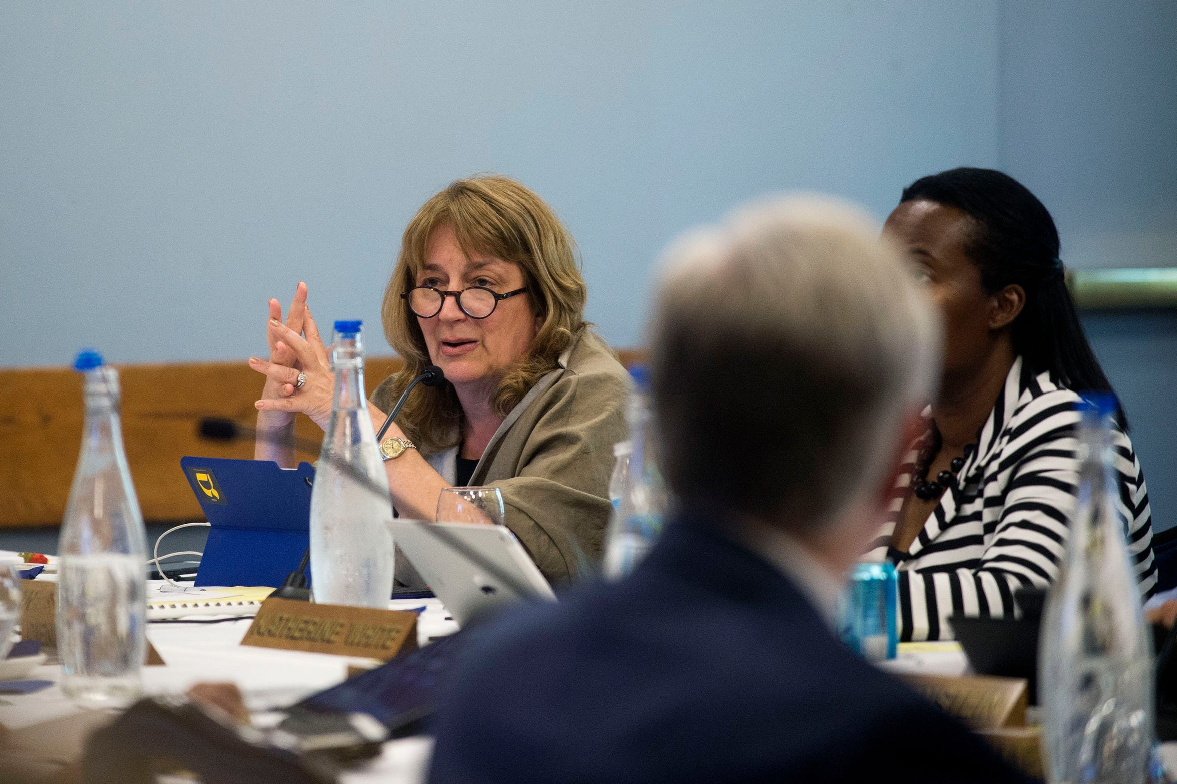 University of Michigan Regent Andrea Fischer Newman speaks during the Board of Regents meeting on Thursday, June 15, 2017 at the Michigan Union in Ann Arbor.