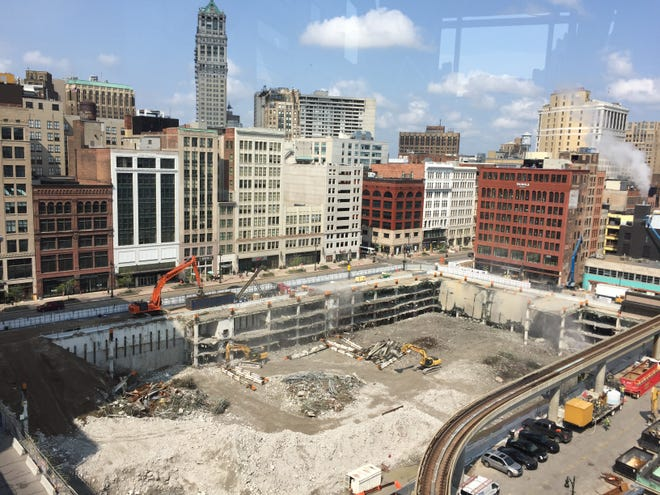The Hudson's site in downtown Detroit, site of Dan Gilbert's planned skyscraper, photographed on August 10, 2018 in the early stages of construction.
