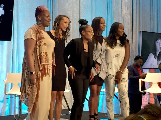 Five black female entrepreneurs spoke at a panel discussion Wednesday Aug. 1, 2018, at the National Association of Black Journalists in Detroit. They were, from left, April Anderson, owner of Good Cakes and Bakes; Roslyn Karamoko, owner of Detroit is the New Black, Jennifer Lyle, owner, Lush Yummies Pie Co., and Kelli Coleman and Anika Jackson, co-owners of TEN Nail Bar.