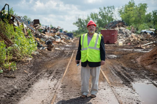 Robert Kimmel, President of Kimmel Scrap Iron & Metal Co., is concerned about how tariffs -- and changing commodity prices -- will impact his family business in Detroit. Kimmel is at the company's scrap yard in Detroit on Aug. 8, 2018.