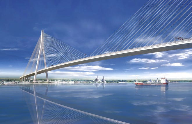 Rendering of the Gordie Howe International Bridge, a cable-stayed design with the longest main span in North America at about 933 yards, and with towers rivaling the height of the Renaissance Center.