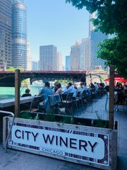 The City Winery patio overlooks the Chicago Riverwalk.