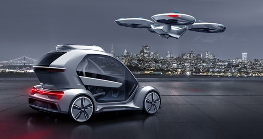 "The ""Pop.Up Next"" concept, being developed  by Audi, italdesign and Airbus, will provide options for air or ground travel.  Its passenger cabin can fasten onto either an autonomous-driving electric car base, or a flight module with vertical takeoff and landing."