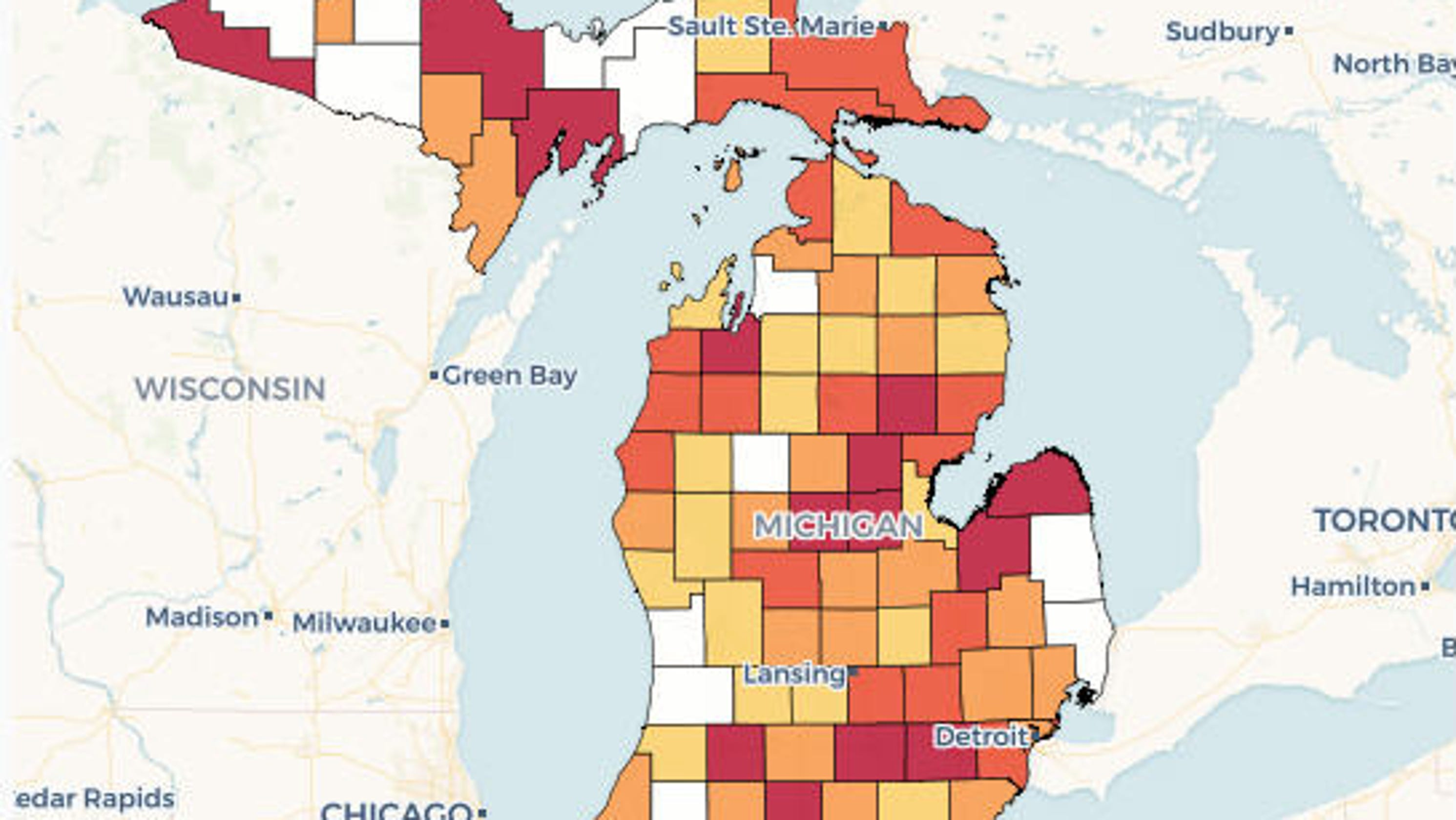 Michigan primary voter by county turnout with interactive map
