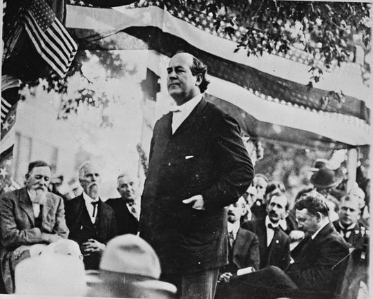 William Jennings Bryan speaks during his presidential campaign in Chicago in 1896.