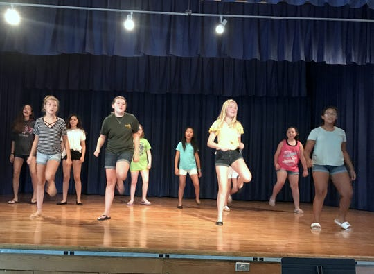 "Student actors rehearse for the Horseheads Youth Bureau summer drama production of ""Oz"" at Horseheads Middle School."