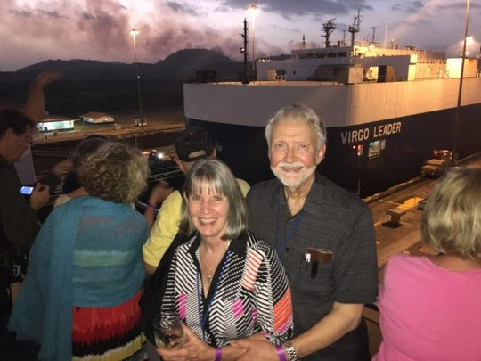 Rhonda and Jim Fuller by the Panama Canal.