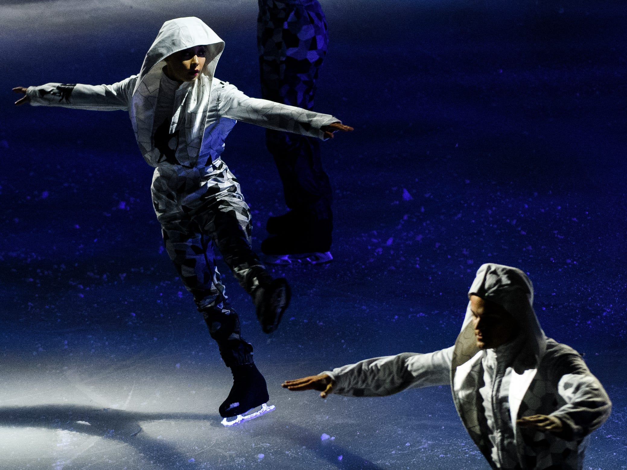 """Cirque du Soleil performers ice skate during their show """"CRYSTAL,"""" at the Bon Secours Wellness Arena on Thursday, Aug. 9, 2018."""