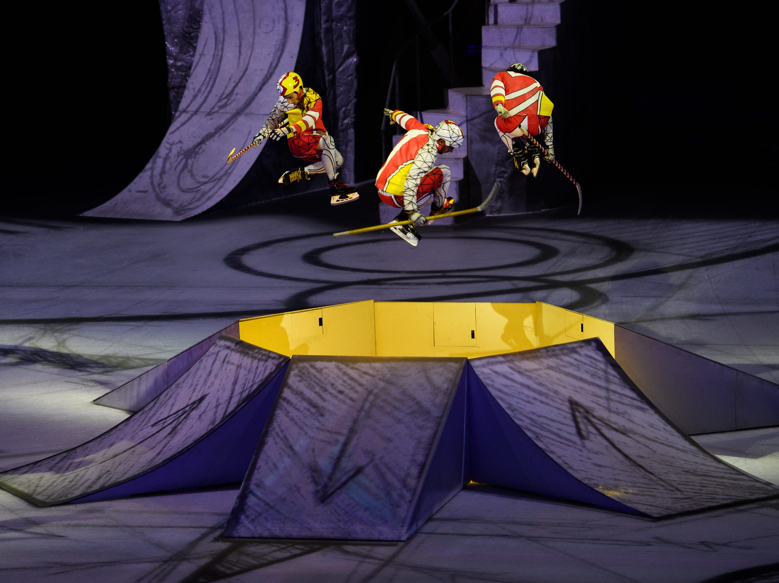 """Cirque du Soleil performers take their acrobatics to the ice for their newest show, """"CRYSTAL,"""" at the Bon Secours Wellness Arena on Thursday, Aug. 9, 2018."""