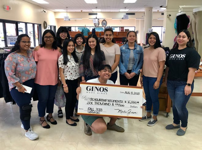As part of Moda Ginos Scholarship awardees for Fall 2018 received $500 for their semester at UOG or GCC. If grades are held up, students will be awarded another $500 for the Spring 2018 semester for a total of $1,000 for each student's first academic year. Pictured from left: Maria Seanna Minas (THS), Seanna Bataclan (JFK), Madison Orland (SSHS), Darlene Ferrer (JFK), Hunter Orland (SSHS), Victoria Lee Mapa (OHS), Muturwan Choay (GW), Tabitha Abay (GW), Nicole Ha'ane Diras (SHS) and Adriana Uribe (Moda Ginos). Front: Eries Jay Moreno (THS); Not pictured: Annalee Charfauros (SHS) and Melody Reyes (OHS).
