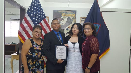 Shannon Renee Raton Santos and Laurence Bustamante Galvez Jr. were wed Aug. 8 by Sen. Joe S. San Agustin at his office in Tamuning surrounded by family and friends. From left: Ruth Espinosa, Galvez, Santos and Cynthia Sanchez.