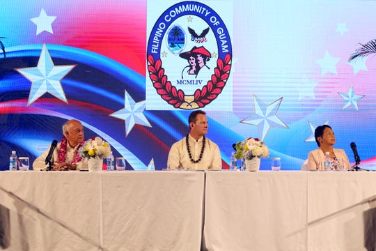 Guam gubernatorial candidates former Gov. Carl Gutierrez, left, Lt. Gov. Ray Tenorio, center, and former Sen. Lourdes Leon Guerrero prepare to answer eight questions for the Filipino Community of Guam's gubernatorial candidates forum.
