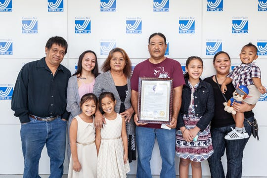 On August 10, Senator Regine Biscoe Lee presented a Legislative Resolution on behalf of the 34th Guam Legislature, recognizing Ben Sablan, delivery driver for Triple J Five Star Wholesale, for his heroic act on March 26. Sablan had come to the aid of an injured driver at the Dededo 76 gas station, along his daily route, when he was flagged down to assist a man pinned between a fuel tank truck and a concrete retaining wall. Without hesitation Sablan jumped into the driver's seat and backed the truck away so that first responders could perform lifesaving aid and transport him to the hospital. Additionally, Sablan was recognized at GHRA's Annual HERO Awards as a nominee for the 2018 Life Saving Award for his heroic act. Present alongside Ben Sablan, was his family and the executive and management team of Triple J Enterprises, Inc.