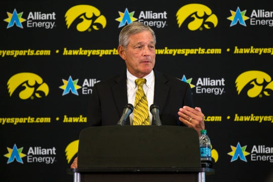 Iowa head coach Kirk Ferentz speaks to reporters during Iowa football media day on Friday, Aug. 10, 2018, in Carver-Hawkeye Arena in Iowa City.