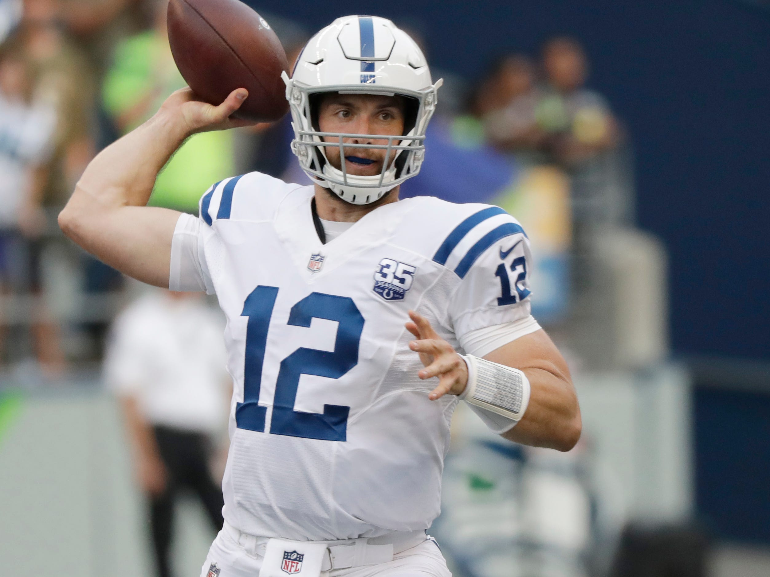 Indianapolis Colts quarterback Andrew Luck passes against the Seattle Seahawks during the first half of an NFL football preseason game, Thursday, Aug. 9, 2018, in Seattle.