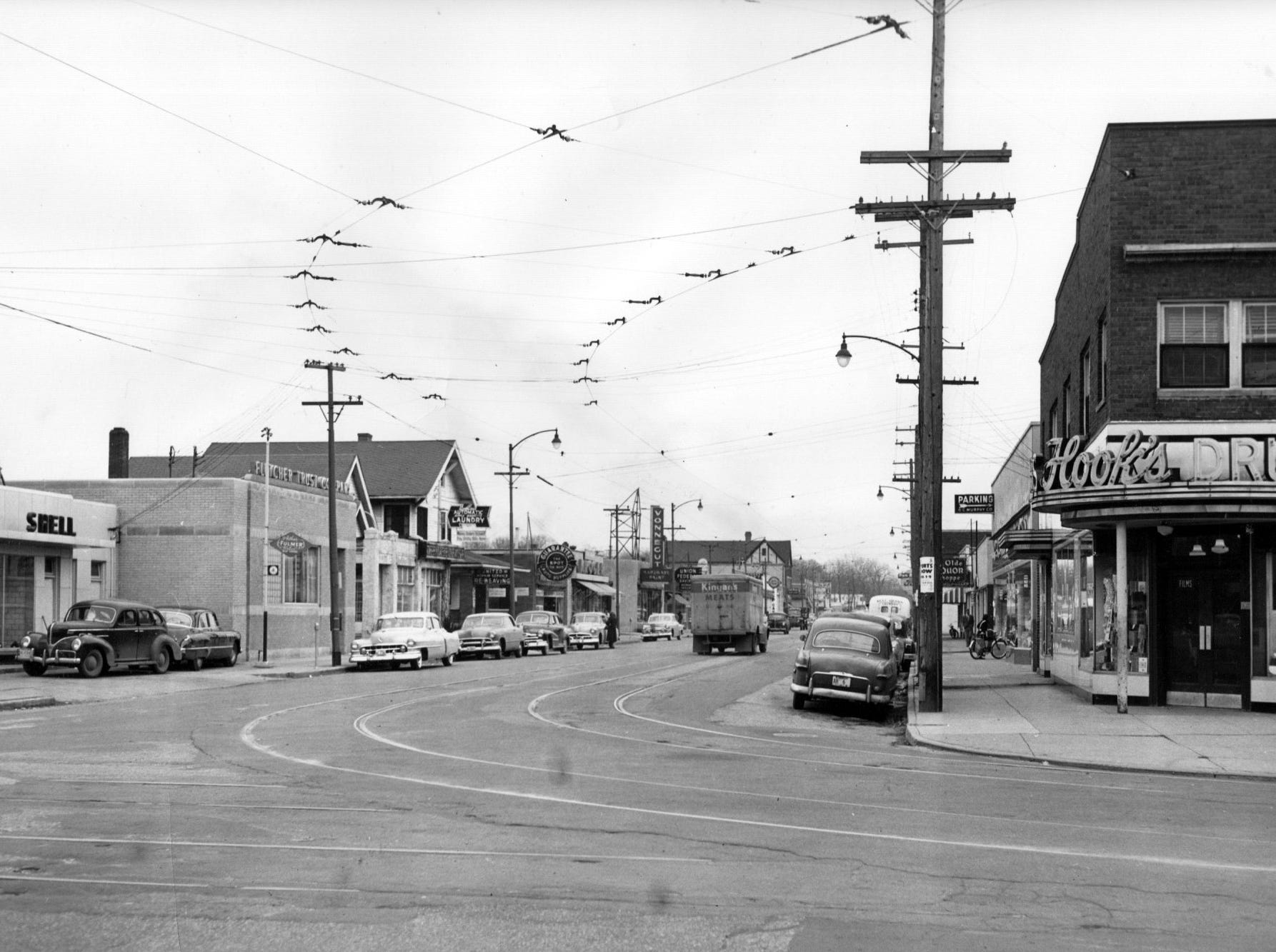 View of E. 63rd St., or Broad Ripple Ave., looking east from the corner of College Ave. in 1952.