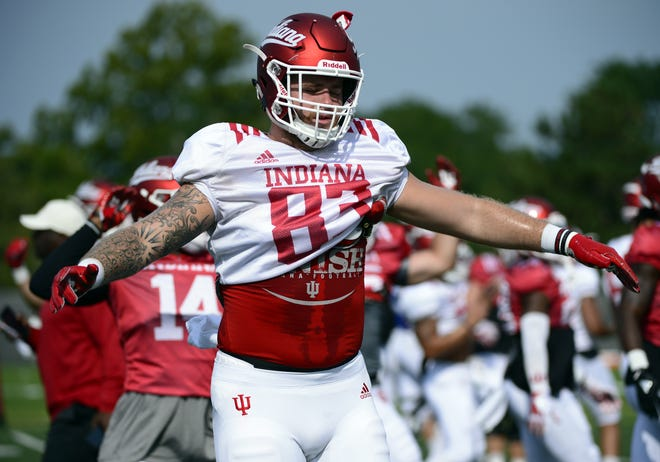 Indiana Hoosiers tight end Austin Dorris stretches during practice at Mellencamp Pavilion in Bloomington, Ind., on Friday, August 10, 2018.