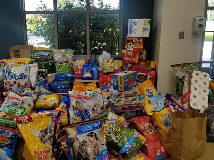 The lobby of the Hendricks County Animal Shelter shows the overwhelming response of the community to their plea for help.