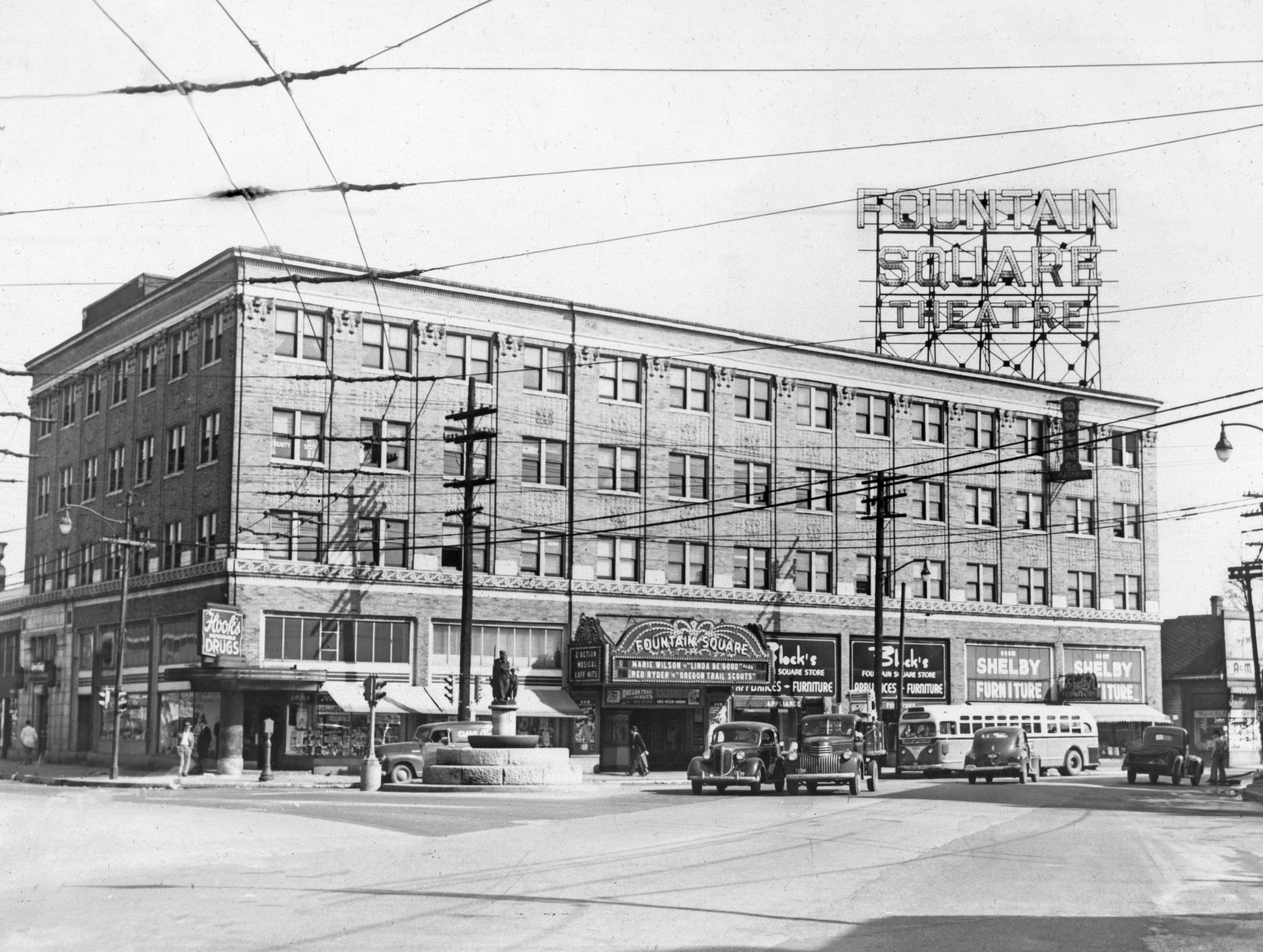 The Fountain Square Theatre was the focal point of the southeastside neighborhood. Streetcar cables can be seen at the intersection of Virginia Avenue, Shelby and Prospect Streets in 1947.