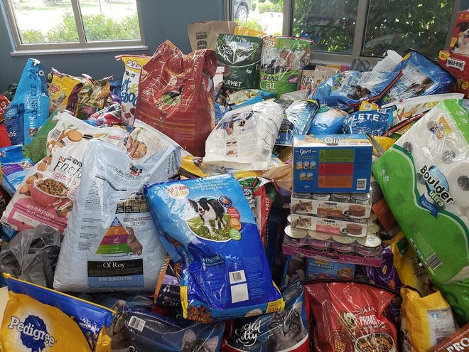 The lobby of the Hendricks County Animal Shelter was piled high with donations after a recent plea for help went viral on Facebook.
