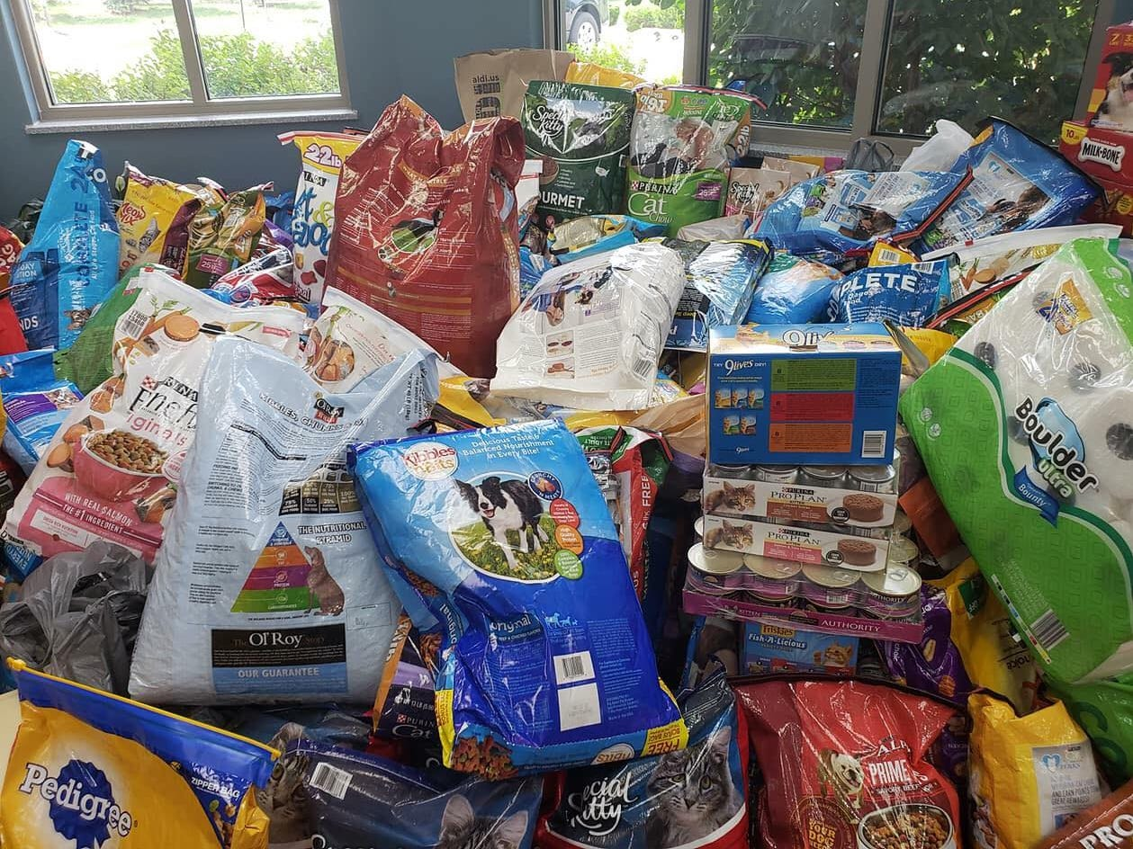 The lobby of the Hendricks County Animal Shelter is piled high with donations after their plea for help.