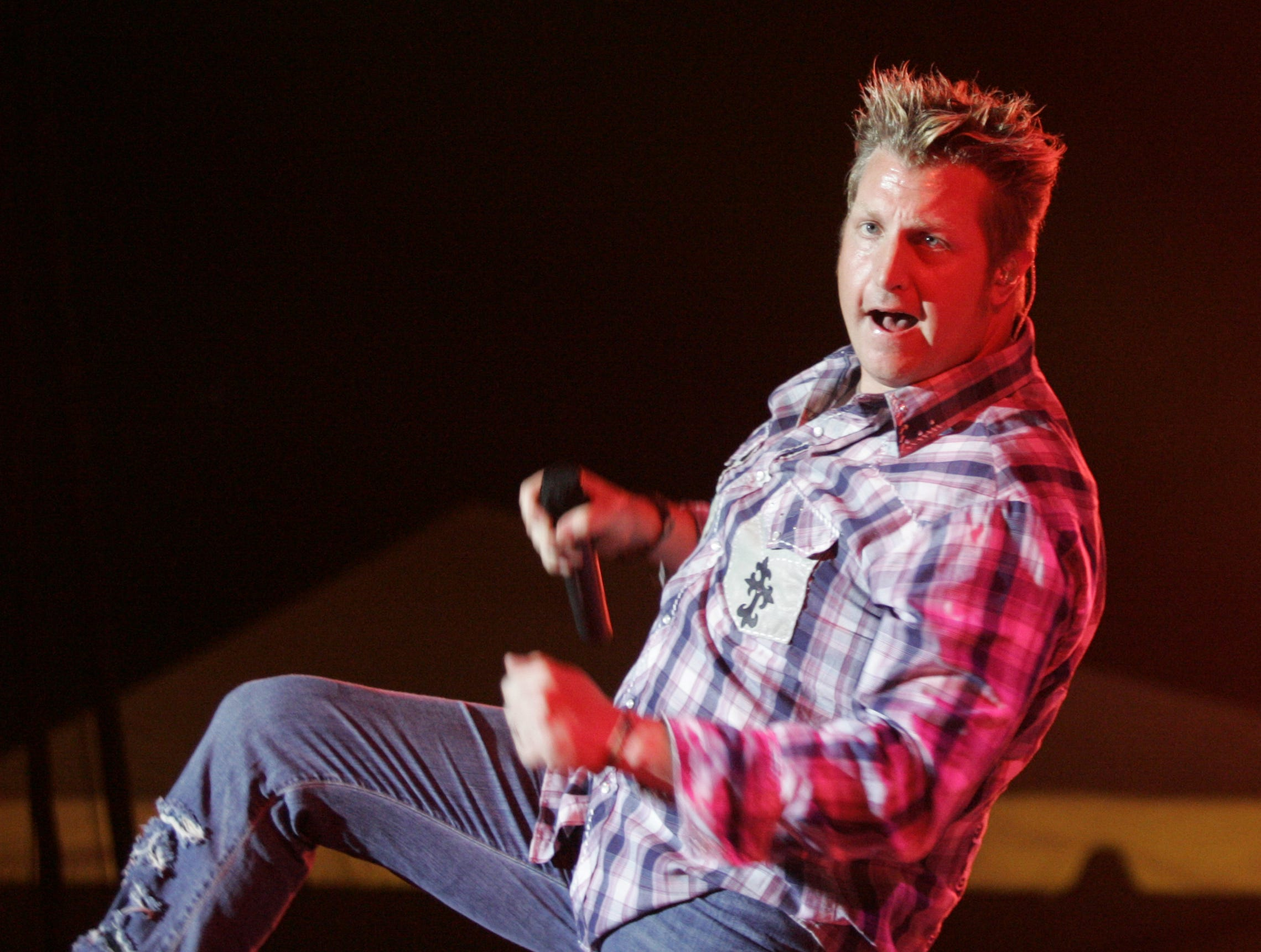Lead singer Greg LeVox from the band Rascal Flatts played at the Indiana State Fair, Thursday, Aug. 11, 2005 after returning from Iraq where they played for the military.