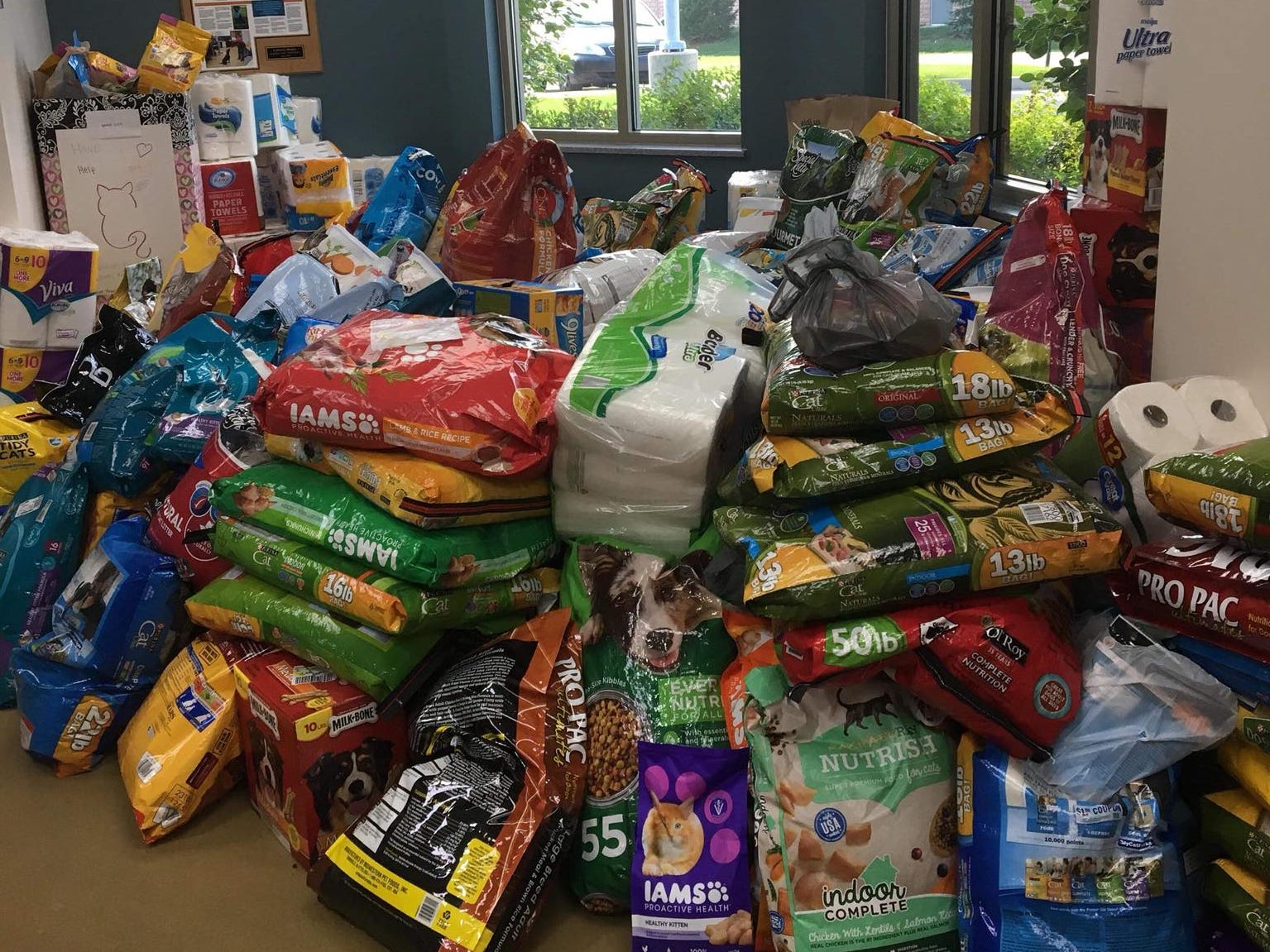 The Hendricks County Animal Shelter lobby quickly filled with donations Thursday after a plea for help.