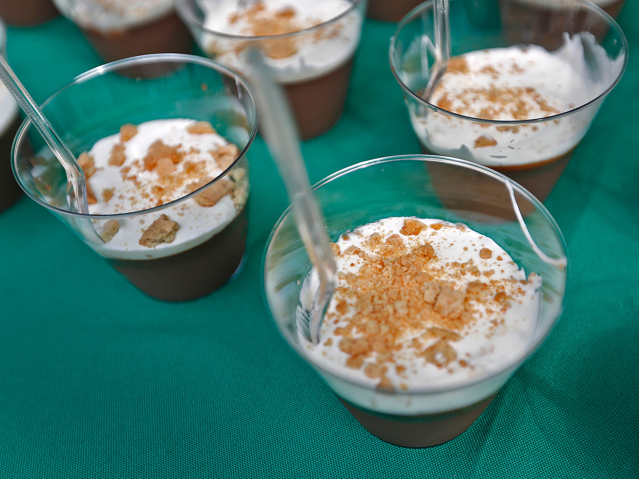 This S'mores treat is by private Chef David McMillen.  This was one of the s'mores offerings during the Girl Scouts' S'mores on the Circle event, Friday, Aug. 10, 2018.  The event celebrated National S'mores Day.  Seven local chefs were featured, creating gourmet s'mores treats, sold as a fundraiser.  Proceeds go for financial assistance for Girl Scouts, helping all girls who want to be a girl scout participating in hands-on adventures and STEM activities.