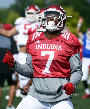 Indiana Hoosiers linebacker Reakwon Jones stretches during practice at Mellencamp Pavilion in Bloomington, Ind., on Friday, August 10, 2018.