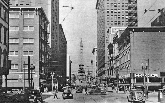 Meridian Street looking north towards Monument Circle just south of Maryland in the '40s.