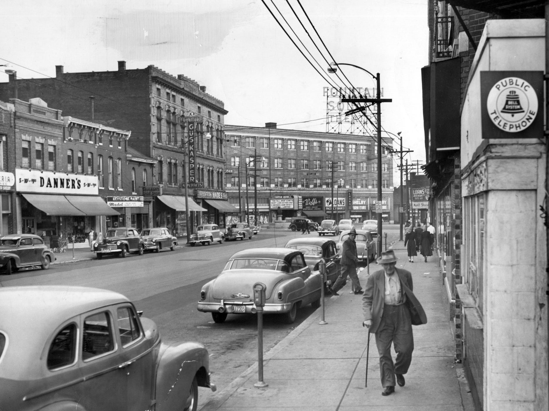 Virginia Ave. in Fountain Square in 1952.