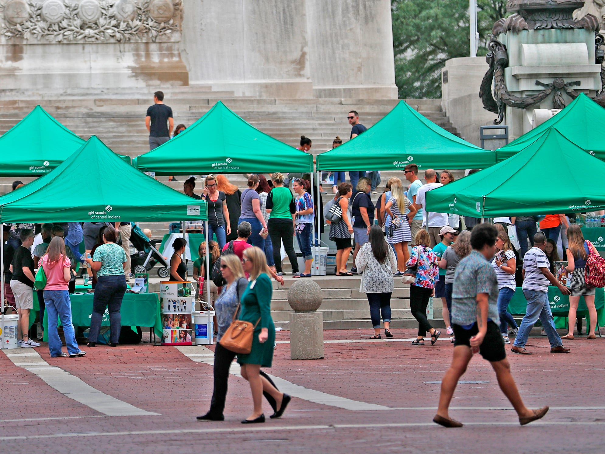 Tents are lined up during the Girl Scouts' S'mores on the Circle event, Friday, Aug. 10, 2018.  The event celebrated National S'mores Day.  Seven local chefs were featured, creating gourmet s'mores treats, sold as a fundraiser.  Proceeds go for financial assistance for Girl Scouts, helping all girls who want to be a girl scout participating in hands-on adventures and STEM activities.