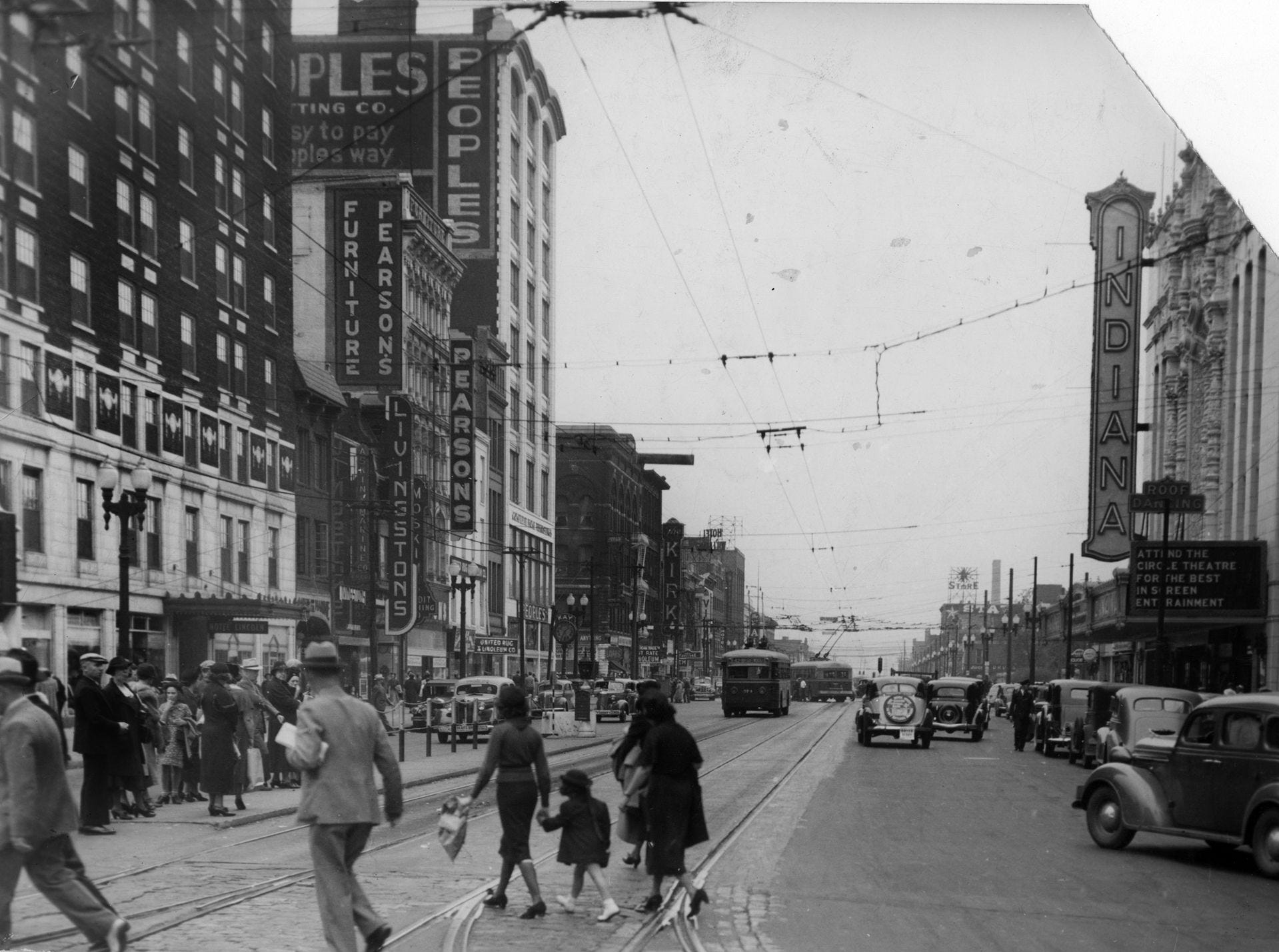 View of West Washington St. from Illinois St., shown here in the mid 1940s.