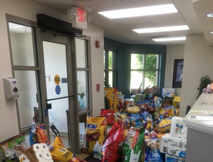 All the donations to the lobby of the Hendricks County Animal Shelter Thursday barely left a path after the shelter's plea for help.