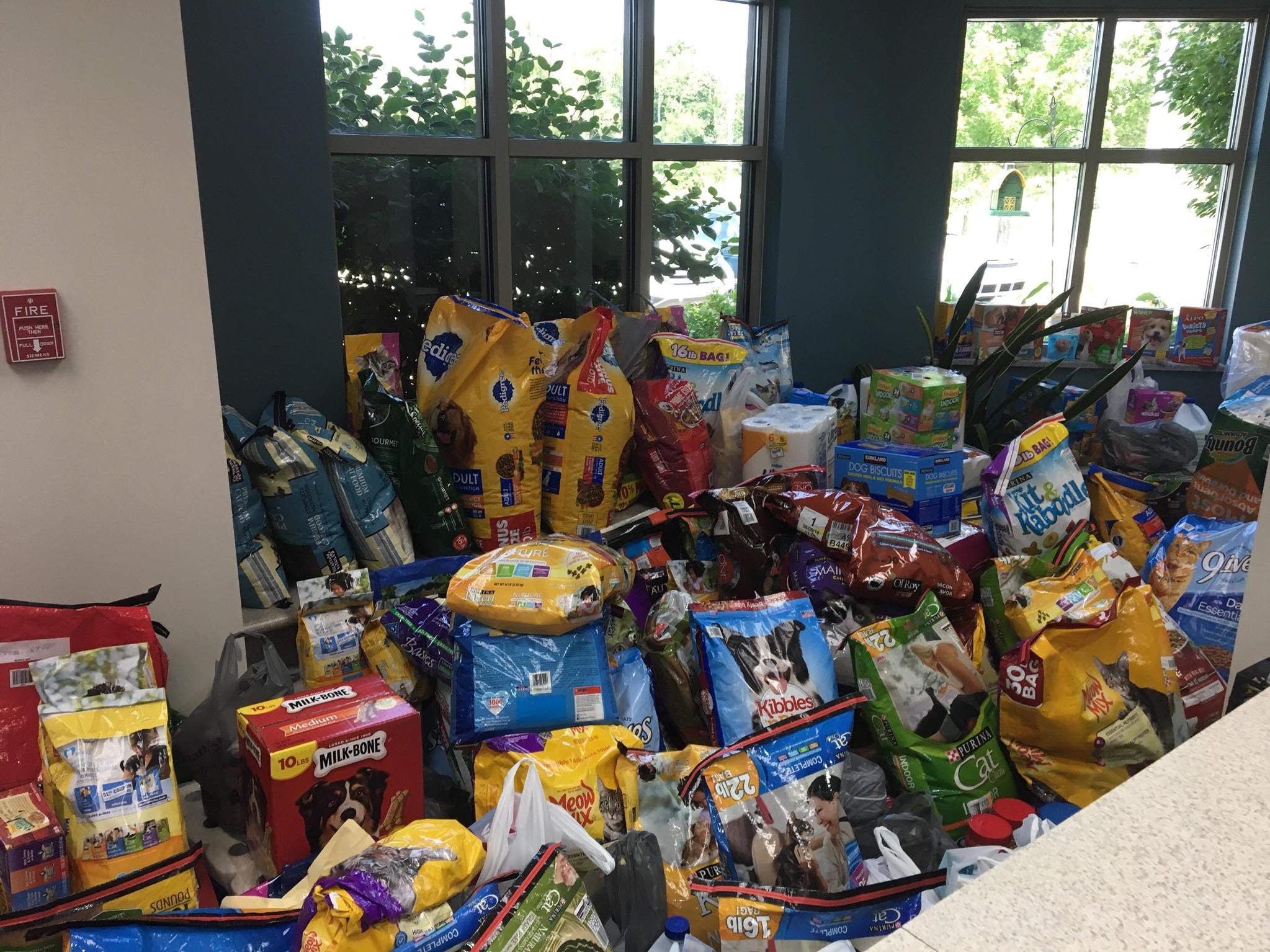 Donations to the lobby of Hendricks County Animal Shelter left little room to walk on Thursday.