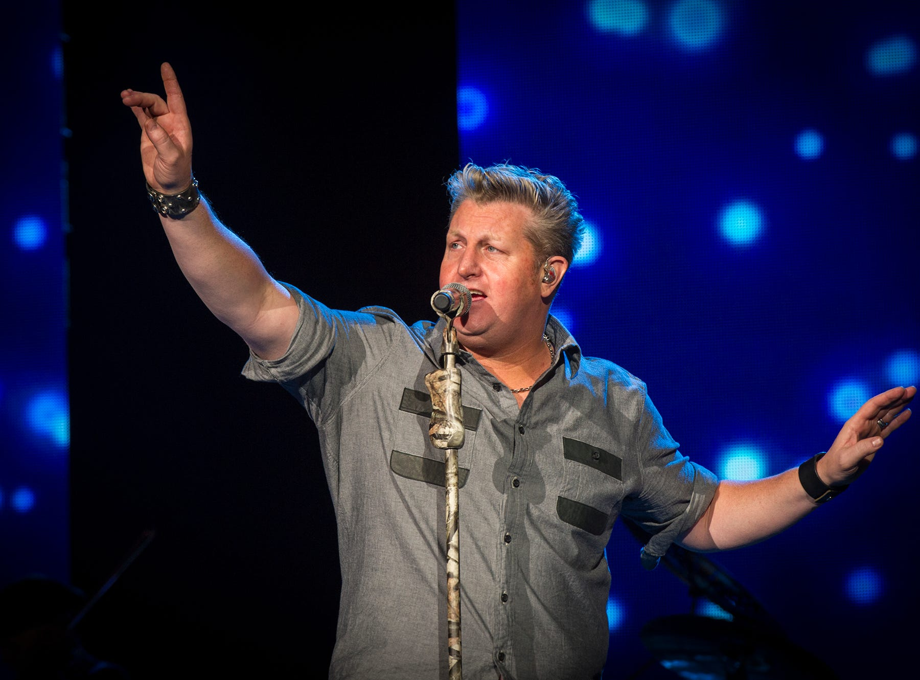 Lead vocalist Gary LeVox performs as part of the trio Rascal Flatts. Rascal Flatts and Sheryl Crow performed Saturday, May 17, 2014, at Klipsch Music Center with opening act Gloriana. The Rewind Tour is the season opener for the amphitheater.