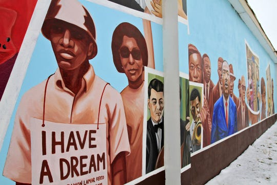 """This is Damon Lamar Reed's mural """"I Have a Dream"""" at 2710 Dr. Martin Luther King Jr. St. The 2011 mural is part of the """"46 for XLVI"""" mural program presented by the Arts Council of Indianapolis during the time of Indianapolis' Super Bowl."""