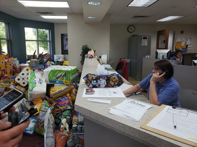 The lobby of the Hendricks County Animal Shelter is inundated with donations after their plea for help.