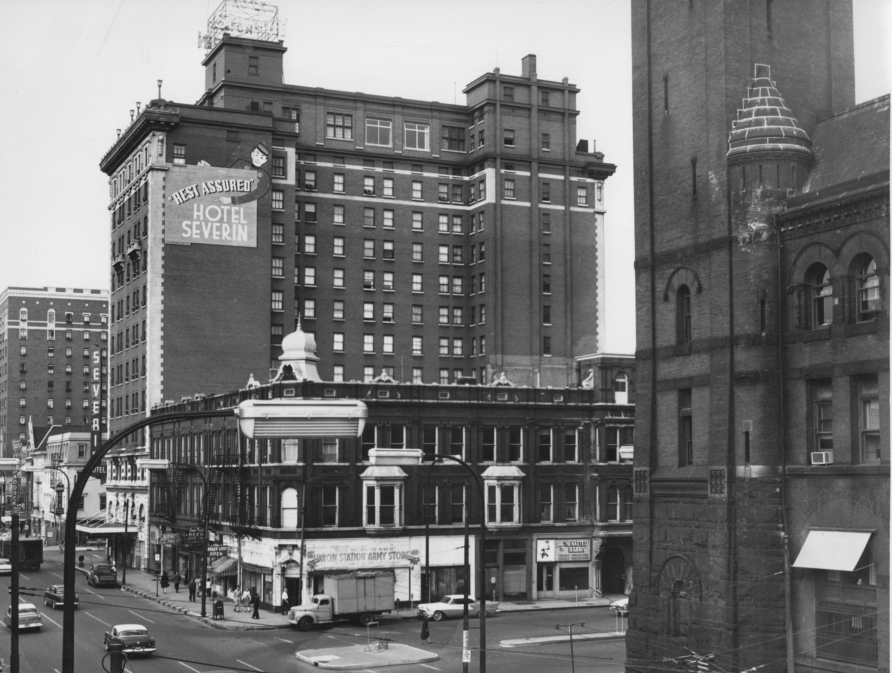 Illinois and South - The Hotel Severin (now the Omni Severin) in the foreground with Union Station to the right.  September 26,1957