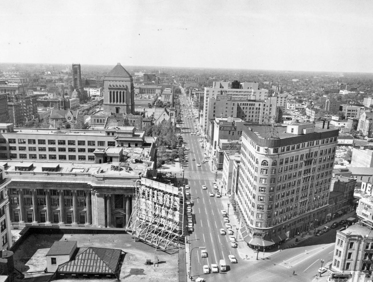 Looking north on Pennsylvania in 1958. The flatiron building is the Knights of Pythias building which was raised for the construction of the Indiana National Bank Building (Regions Tower). The Federal Building is to the left.