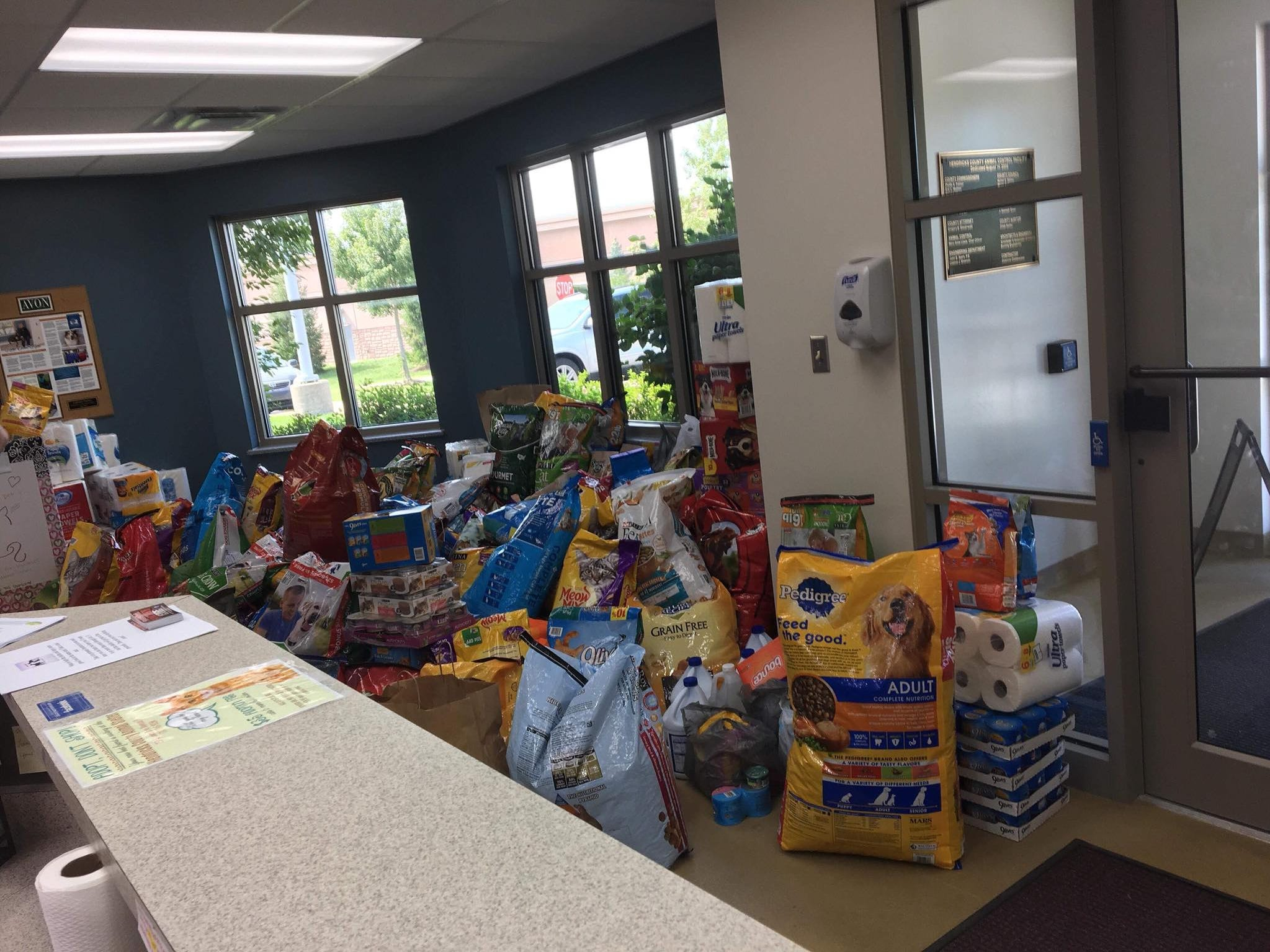 Donations filled every corner of the lobby at the Hendricks County Animal Shelter after a plea for help.