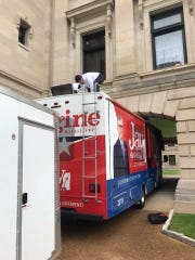 Rep. Jay Hughes' campaign bus gets stuck at the Capitol.